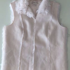 Suede and faux fir-lined vest by Coldwater Creek